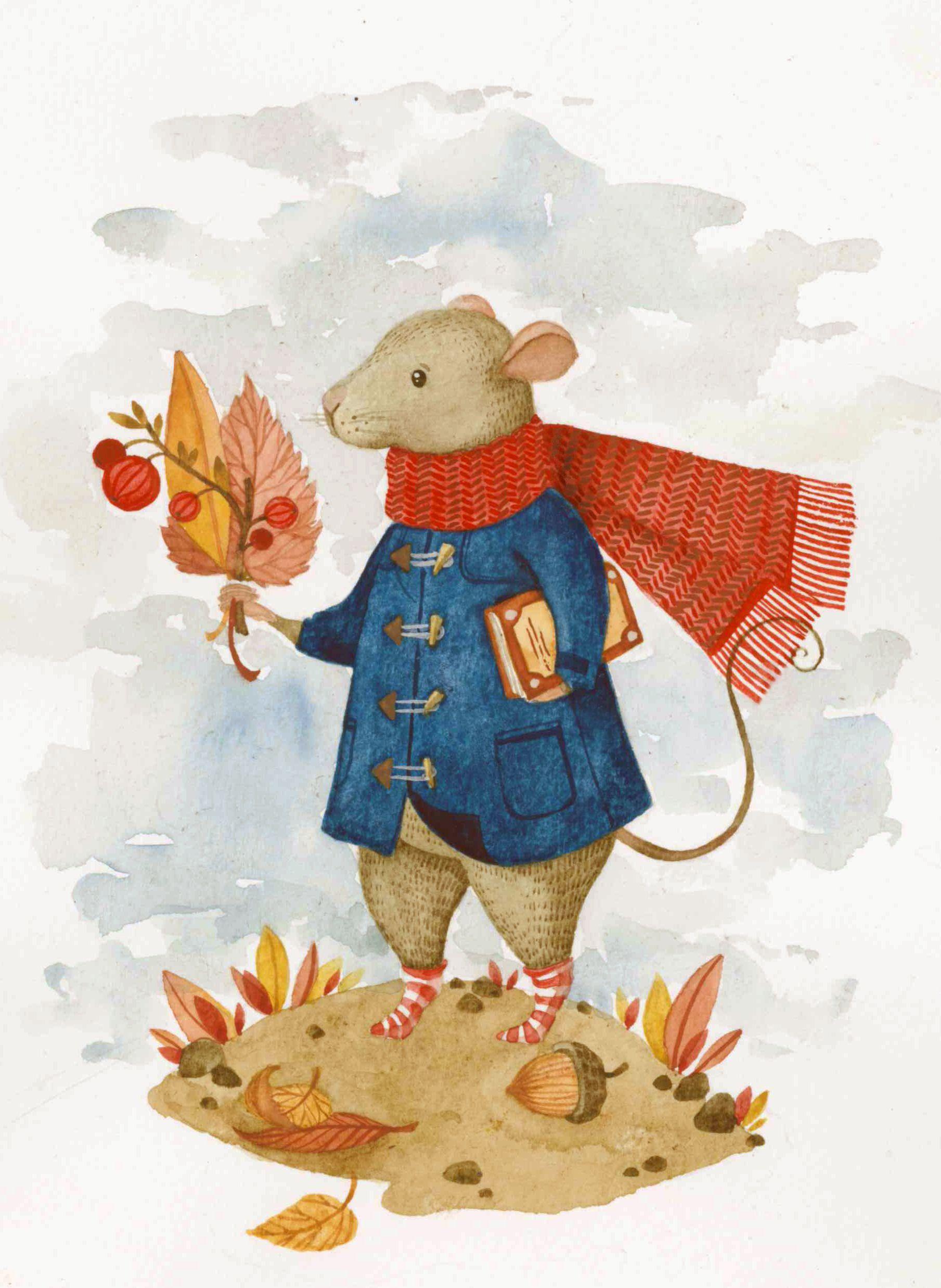 Иллюстрация Осенний мышонок.