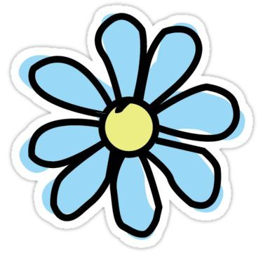 Bright Blue Flower Sticker Aesthetic Stickers Bubble Stickers
