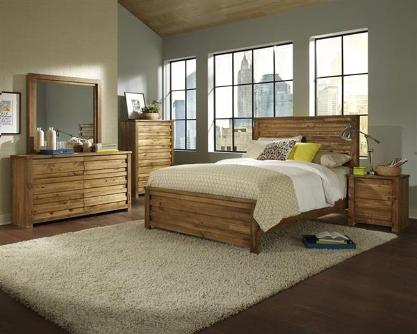 Melrose Transitional Driftwood Solid Wood MDF Master Bedroom Set ...