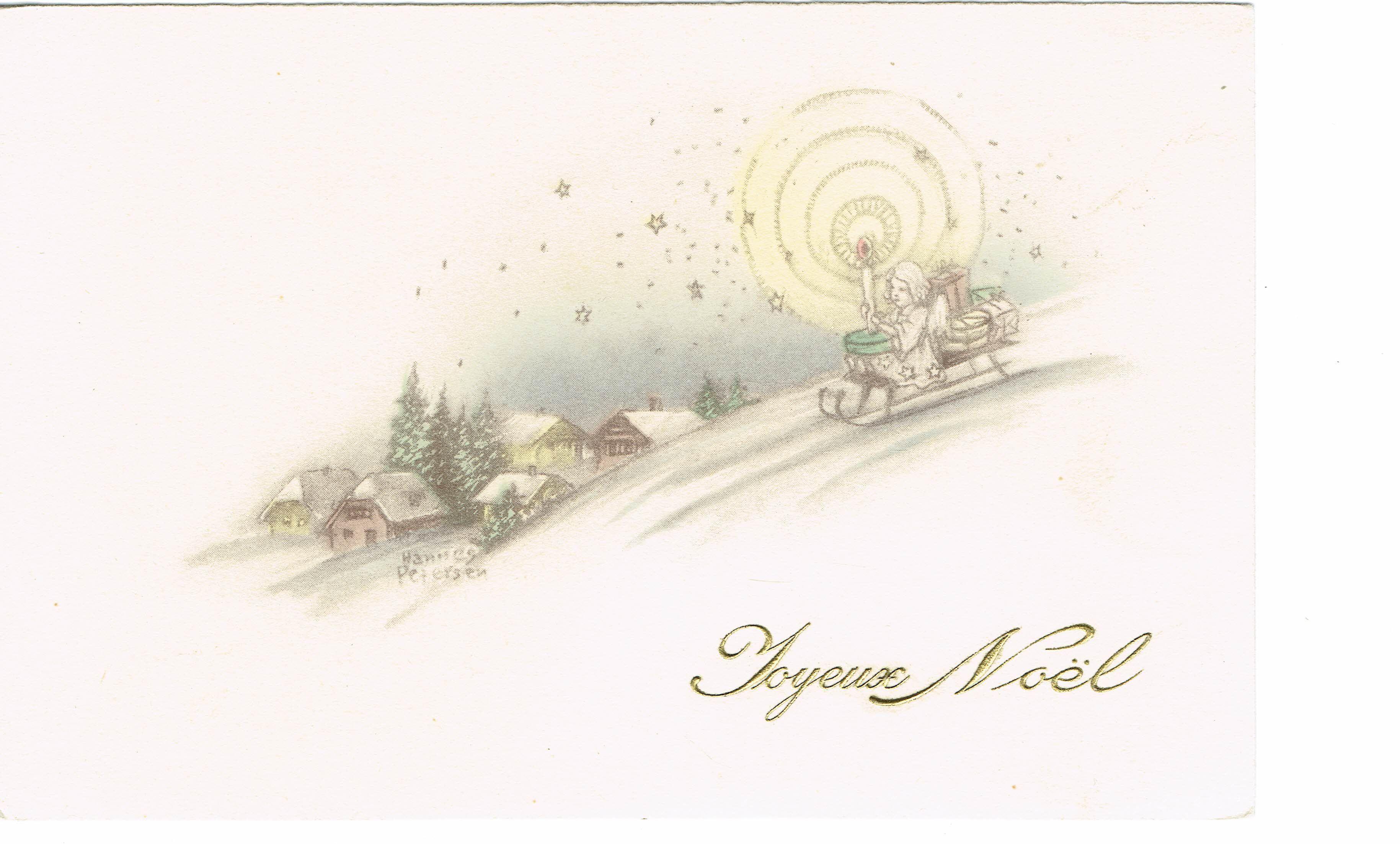 French Christmas Postcard 1936 Artist Signed Vintage Postcards For