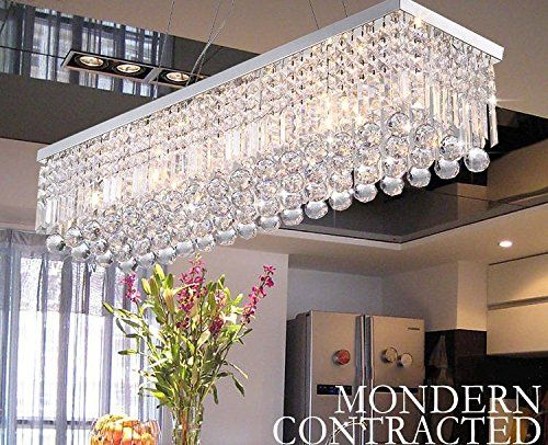 Ella Fashion Modern Rectangle Clear K9 Crystal Chandelier Rain Drop Lighting 5 Lights Dining Chandelier Crystal Chandelier Dining Room Dining Room Chandelier