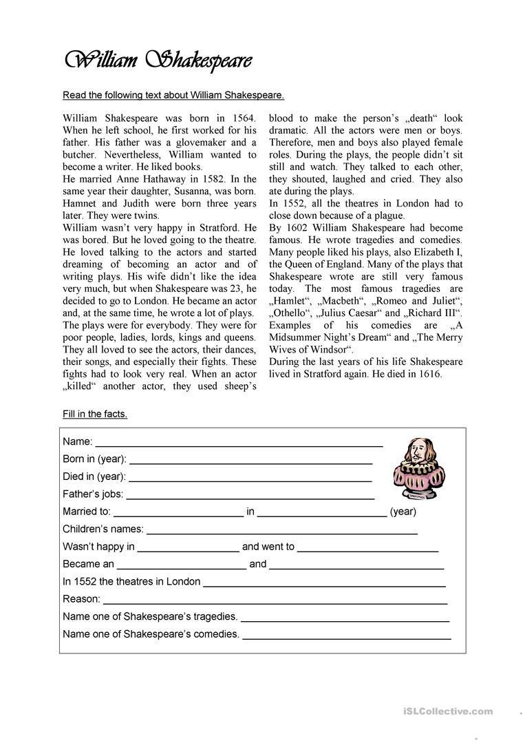 William Shakespeare Worksheet Free Esl Printable Worksheets Made By Teachers English Reading Reading Comprehension Esl Reading Comprehension