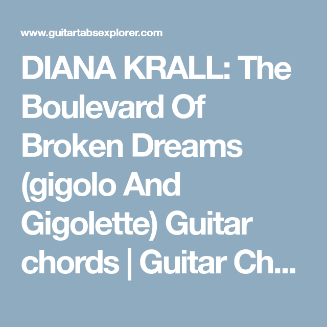 DIANA KRALL: The Boulevard Of Broken Dreams (gigolo And Gigolette ...