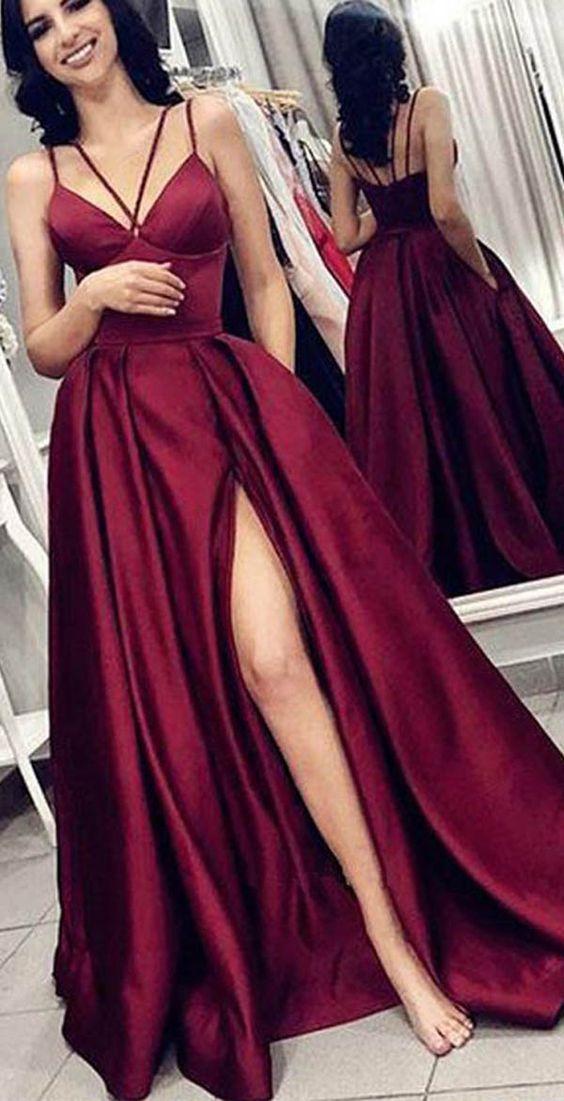 Spaghetti straps Burgundy Open Back Prom Dress with Split,Satin A line Evening Dress,875 on Storenvy
