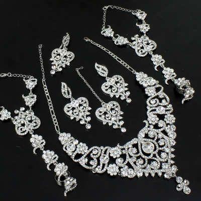 Silver cz bridal necklace!