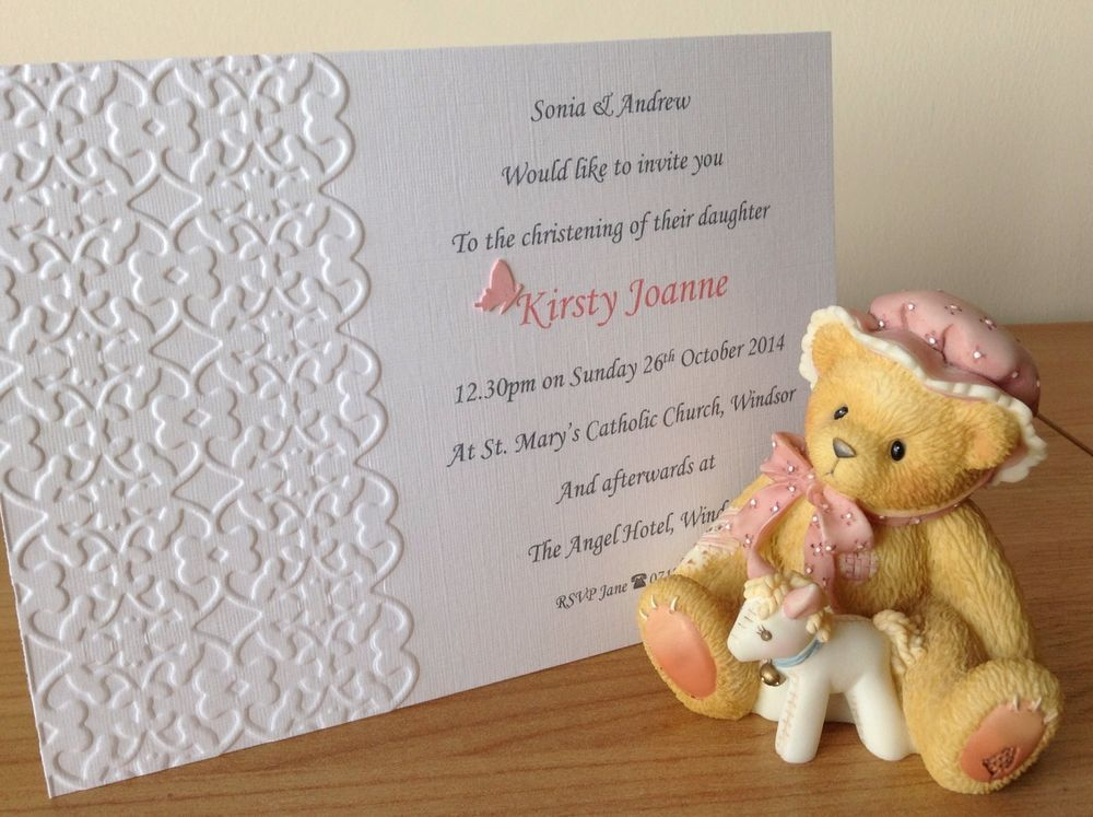 10 Handmade Embossed Christening Invitations Boy Girl Twins Triplets - sample baptismal invitation for twins