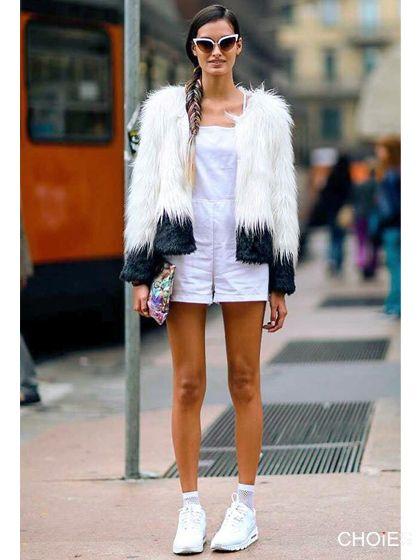 Two Tone Shaggy Faux Fur Coat | Choies