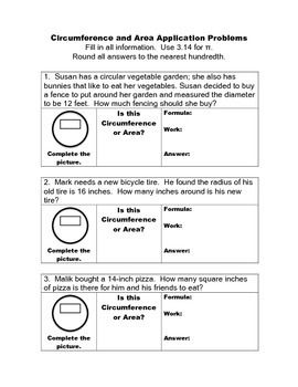 Circumference and Area of Circles Application (Word) Problems ...
