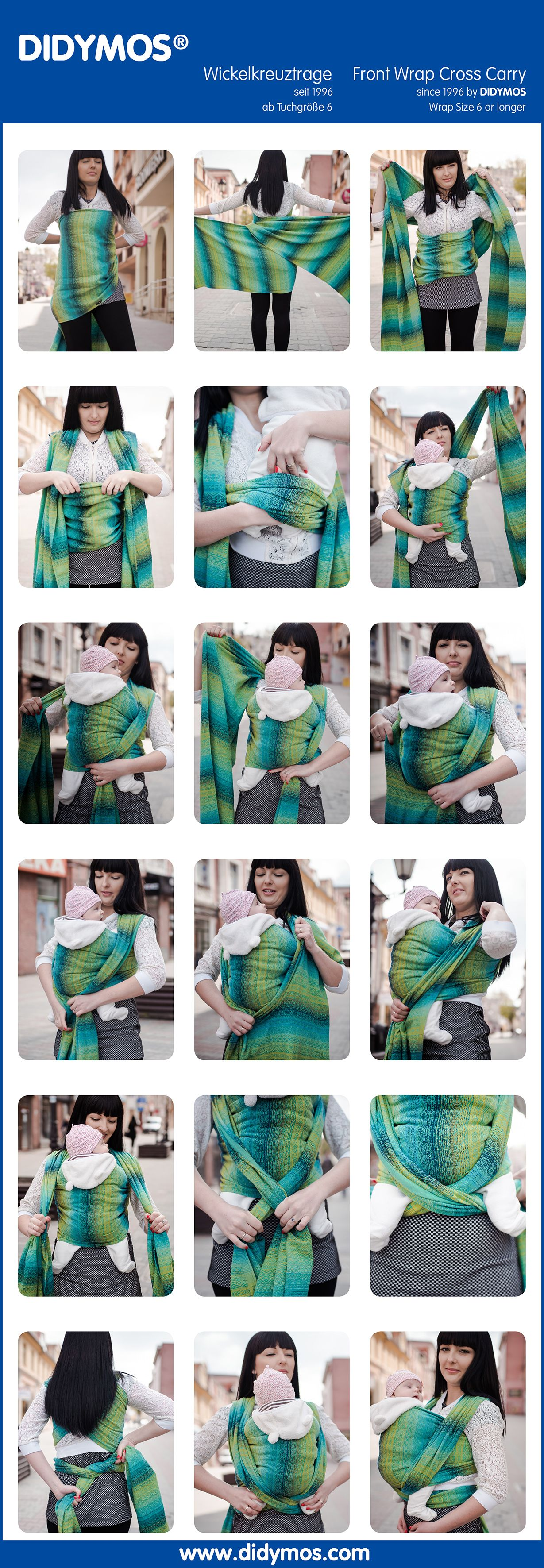DIDYMOS FWCC - Front Wrap Cross Carry, first shown 1996 with glw, after DIDYMOS Sizing system from size 1-12