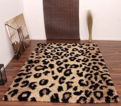 Hochflor Leopard Shaggy, Leopards and Beige
