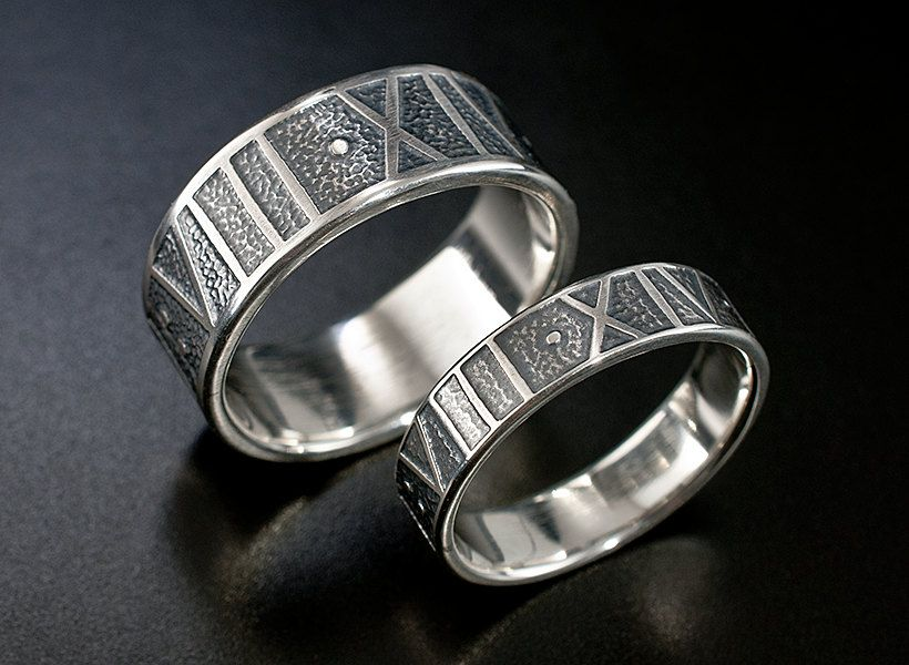 Roman Numeral Wedding Rings His And Her S Band Set Sterling Silver One Of A Kind Matching Custom Date