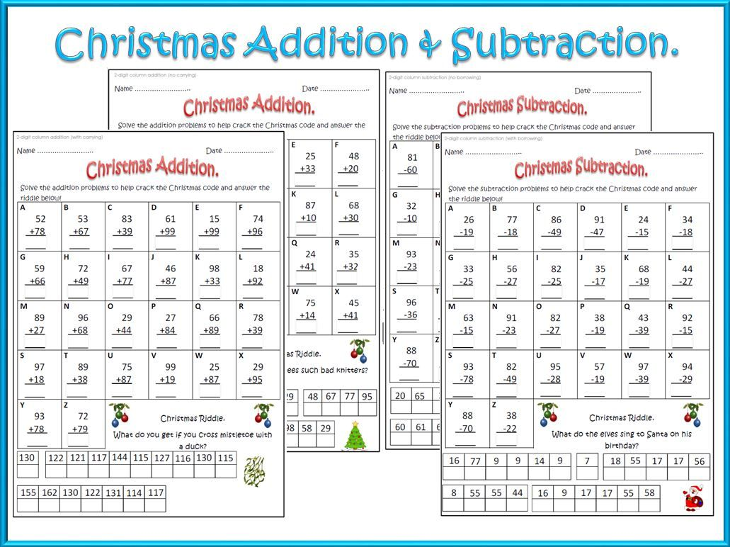Christmas Math Worksheets Addition Amp Subtraction