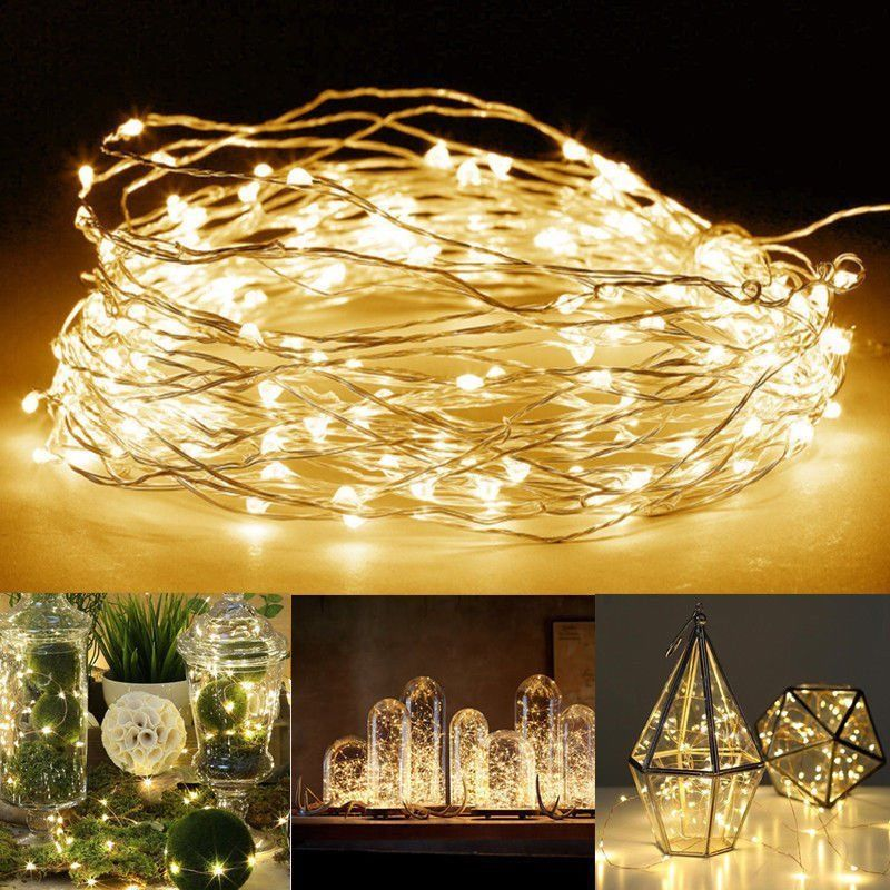 20/50/100 Micro LED String Battery Operated Silver Wire Fairy Lights