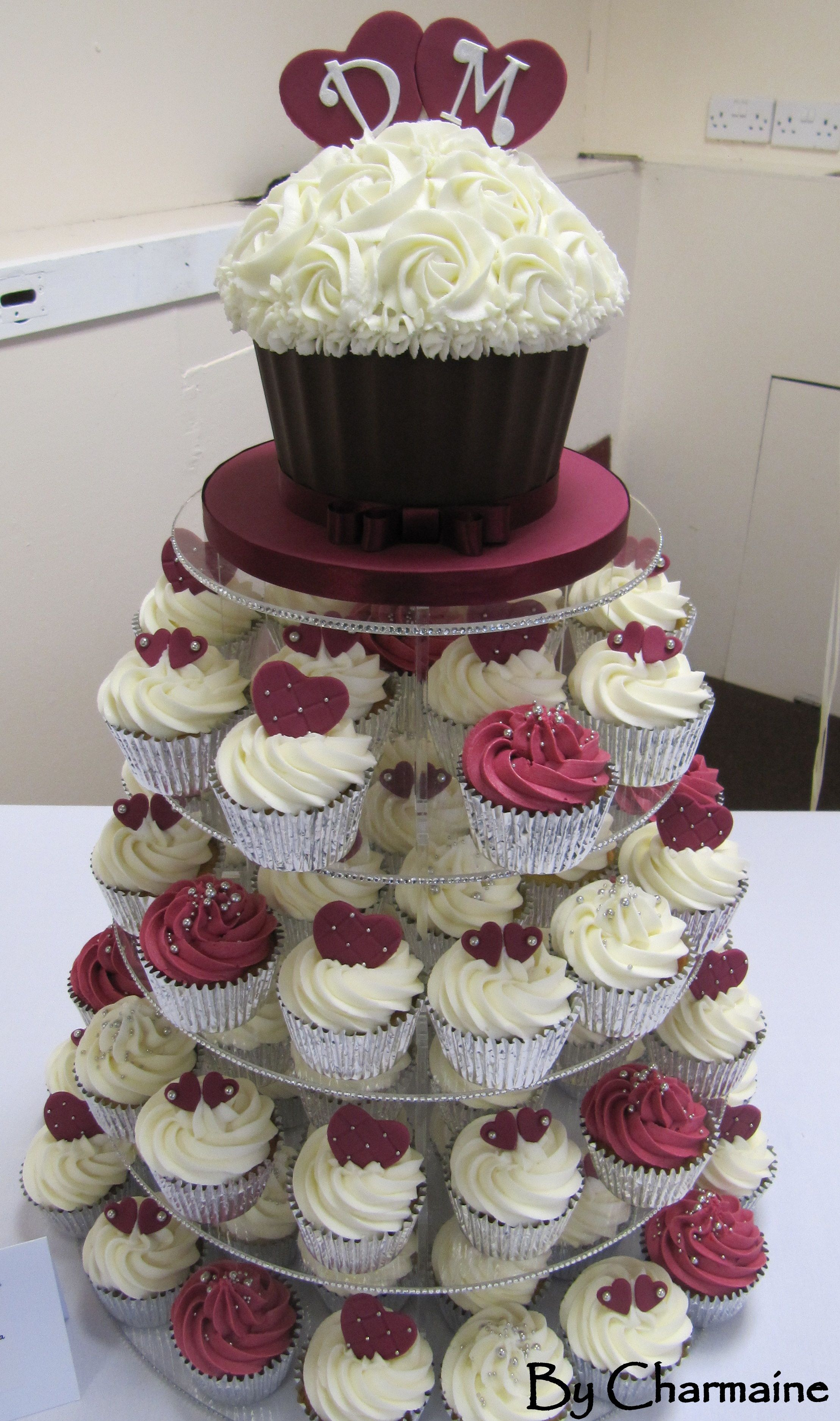 Burgundy and White wedding tower Wedding cakes with