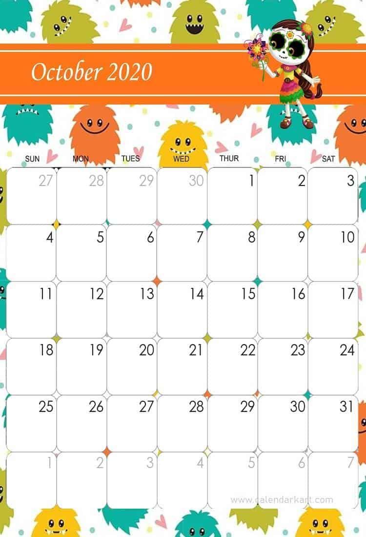 Cool Calendar Printable By Month 2020 October Halloween For School Printable October 2020 Cute Calendar in 2020 | Cute calendar, Kids