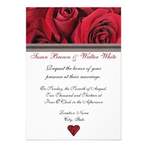 Red Rose Wedding Invitation - features original photography of red roses on white background for a striking and elegant wedding invitation. Black ribbon accents and two sided printing options make this a unique wedding invitation.