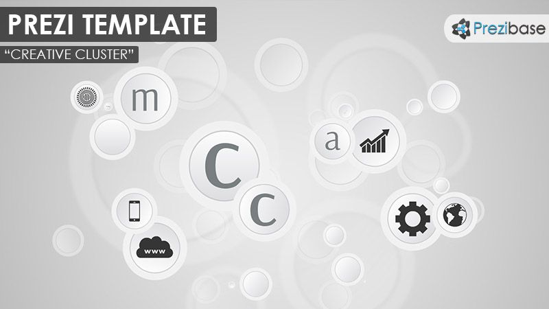 Prezi Template with a grayscale color scheme: various circles on a ...