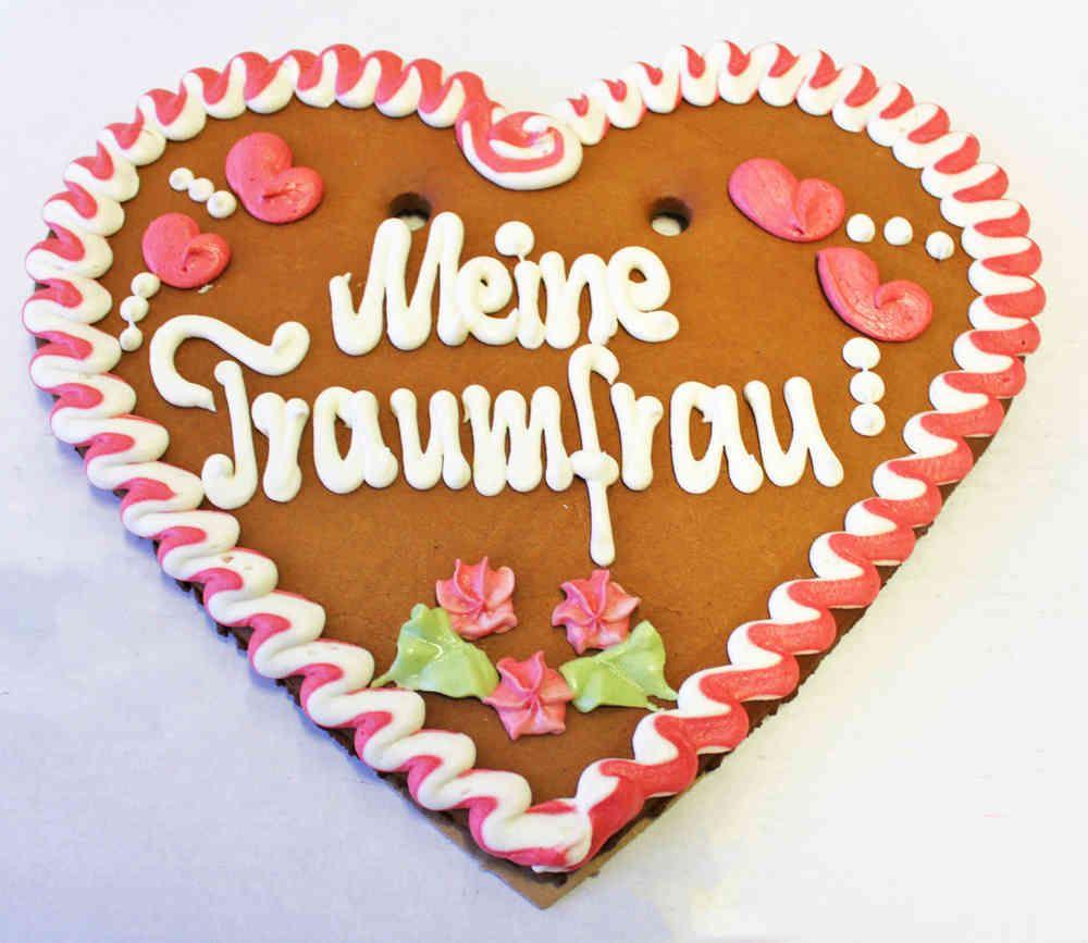 Lebkuchenherzen Bio Spruch Meine Traumfrau ,35 cm Karton