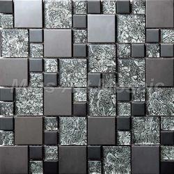 Online Shop [Mius Art Mosaic] Black Metal tile mixed glass mosaic ...