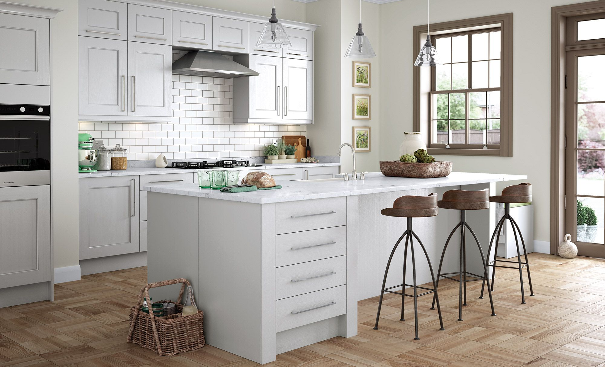 Wakefield Traditional Classic Kitchen Painted in Light Grey, White ...