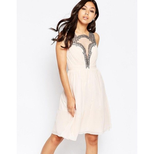 Little Mistress Skater Dress with Baroque Lace Plunge Detail (£47) ❤ liked on Polyvore featuring dresses, cream, cream lace dress, white plunge dress, skater dress, high neck white dress and white lace dress