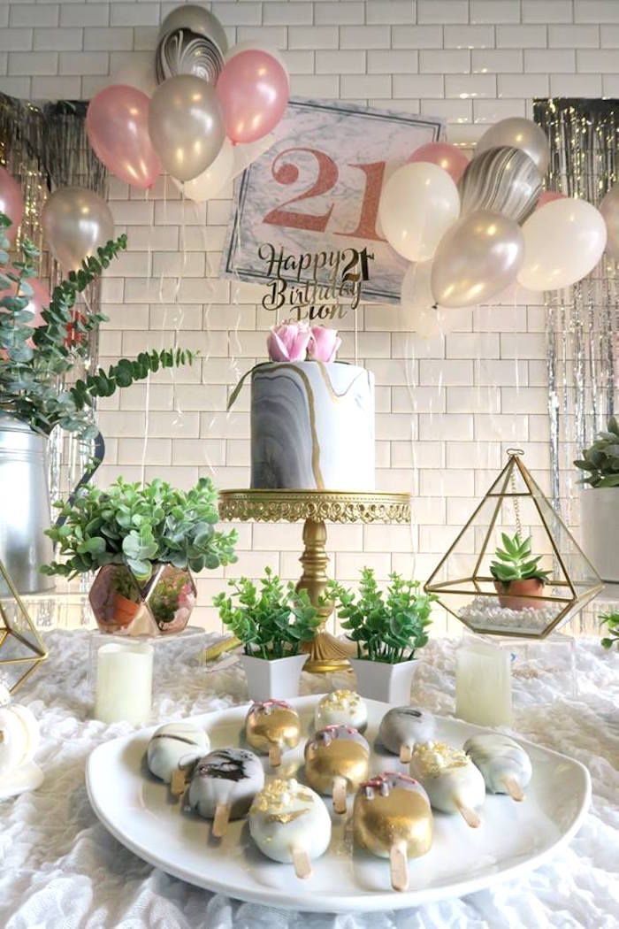 Cake Table From An Elegant Marble Inspired 21st Birthday Party On Karas Ideas