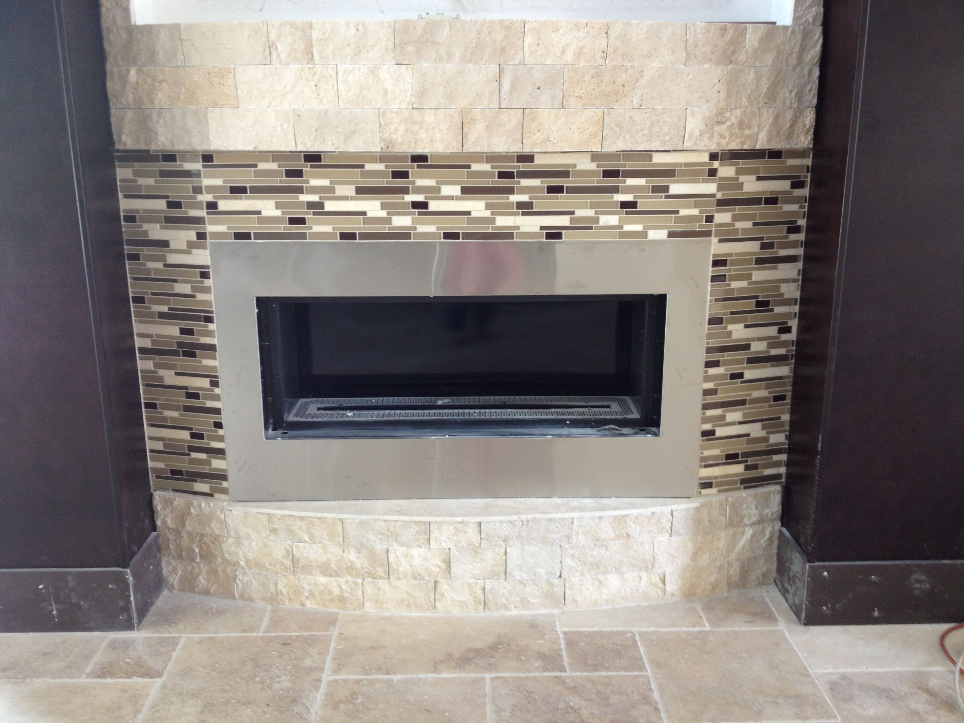 modern glass tiles mosaic gas electric fireplace with stainless steel facing and cream marble stone hearth of contemporary fireplace design ideas for modest - Tile Fireplaces Design Ideas