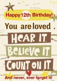 12th Birthday Card Inspiritional Card Old Birthday Cards 18th Birthday Cards Free Printable Birthday Cards