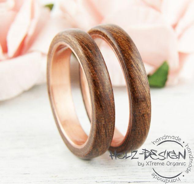 Kupfer Ring mit Holz Bentwood Ringe Eheringe Edel  Rings
