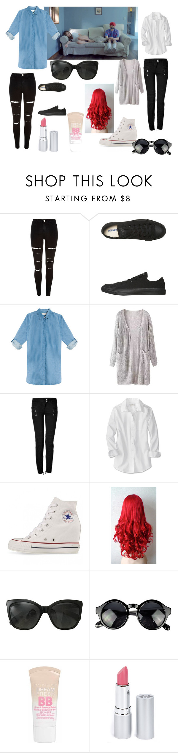 """""""zion.t eat"""" by kpoplover21 ❤ liked on Polyvore featuring River Island, Converse, MiH Jeans, Balmain, Chanel, Maybelline, HoneyBee Gardens, women's clothing, women and female"""