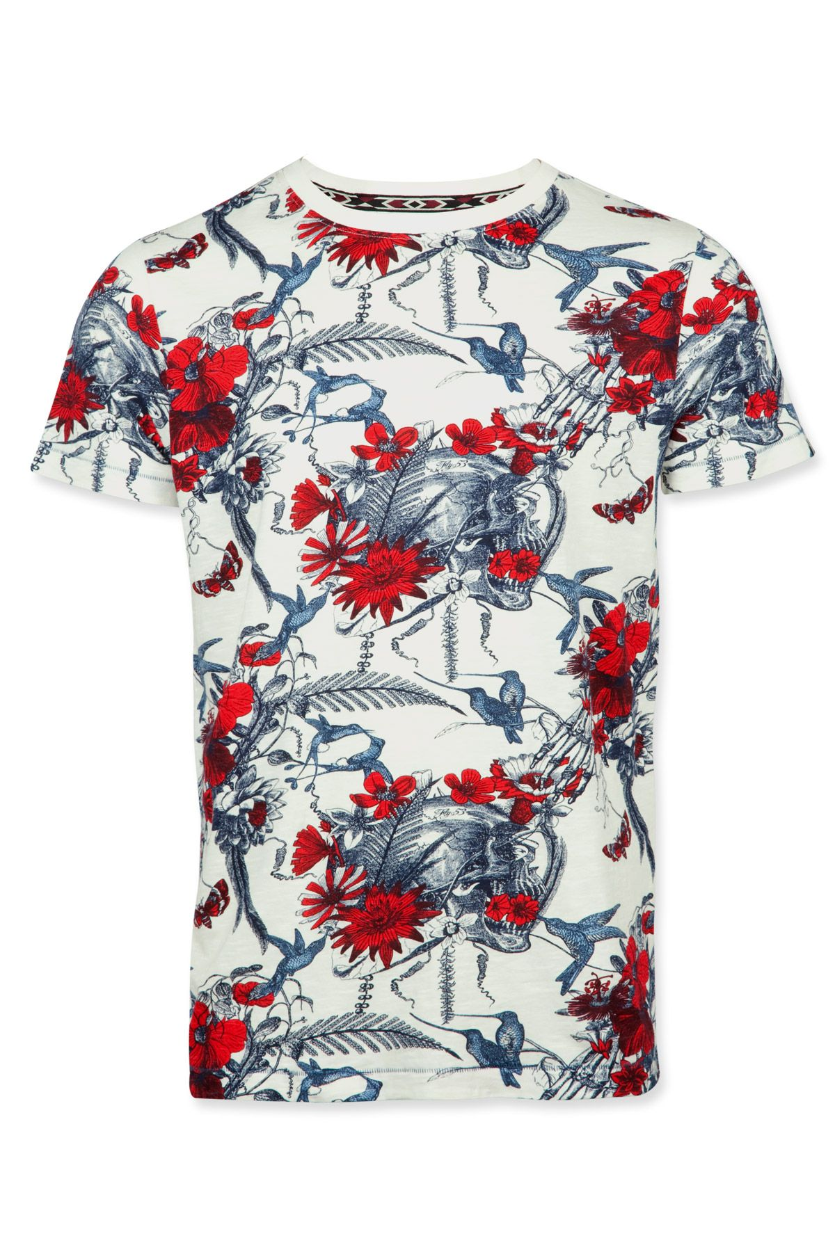 24e2667a27c FLY53 T Shirt featuring all over printed floral design. 100% Cotton ...