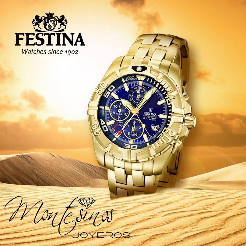 2b13ba515fb0 Reloj Festina caballero. Chapado dorado. Esfera azul. Multifunción ...