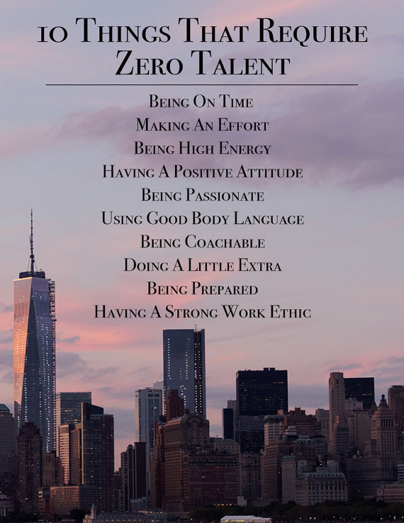 10 Things That Require Zero Talent Inspirational Print