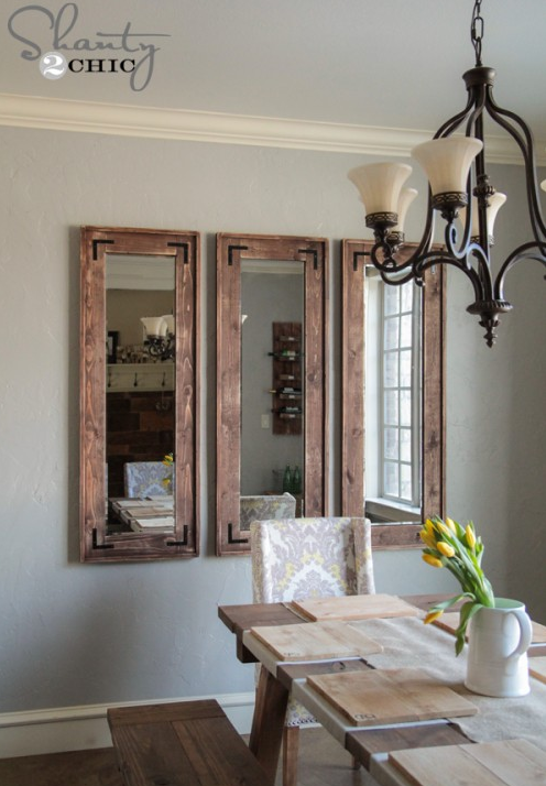 DIY Rustic Wall Mirrors Made From Cheap Plastic Framed Full Length Mirrors  From Walmart, Target, Ect Design