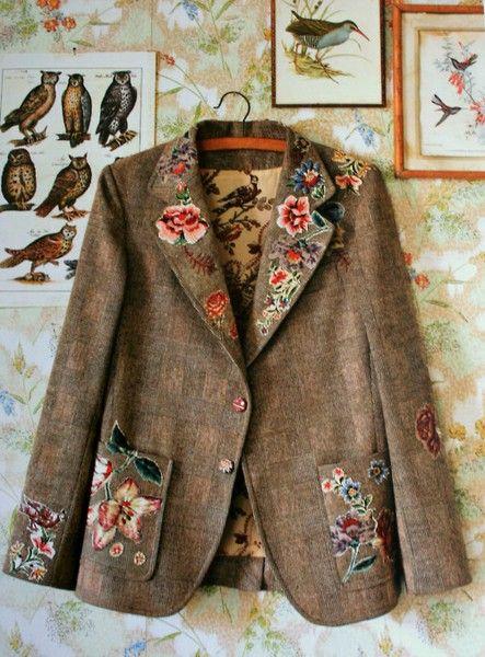 motifs floraux appliquer sur une veste classique couture et patchwork pinterest veste. Black Bedroom Furniture Sets. Home Design Ideas