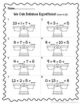 Balancing Equations Printables For 1st Grade Aligns With Common Core Balancing Equations First Grade Worksheets First Grade Math