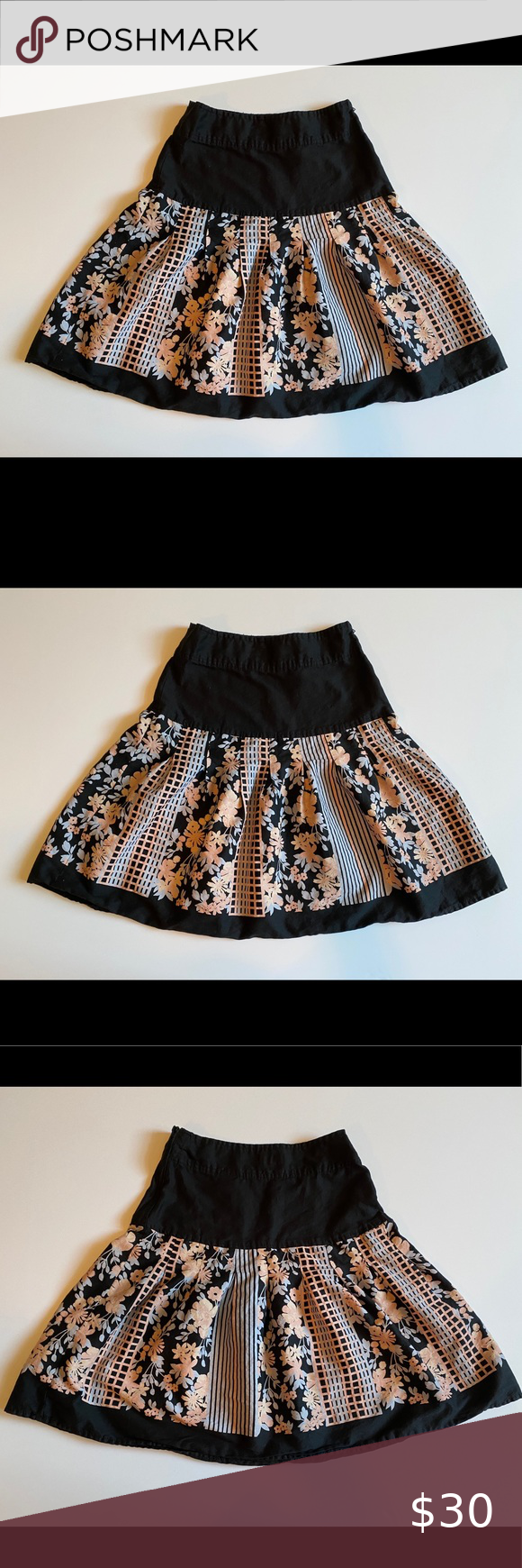 H&M A- Line Skirt Black with Floral Print