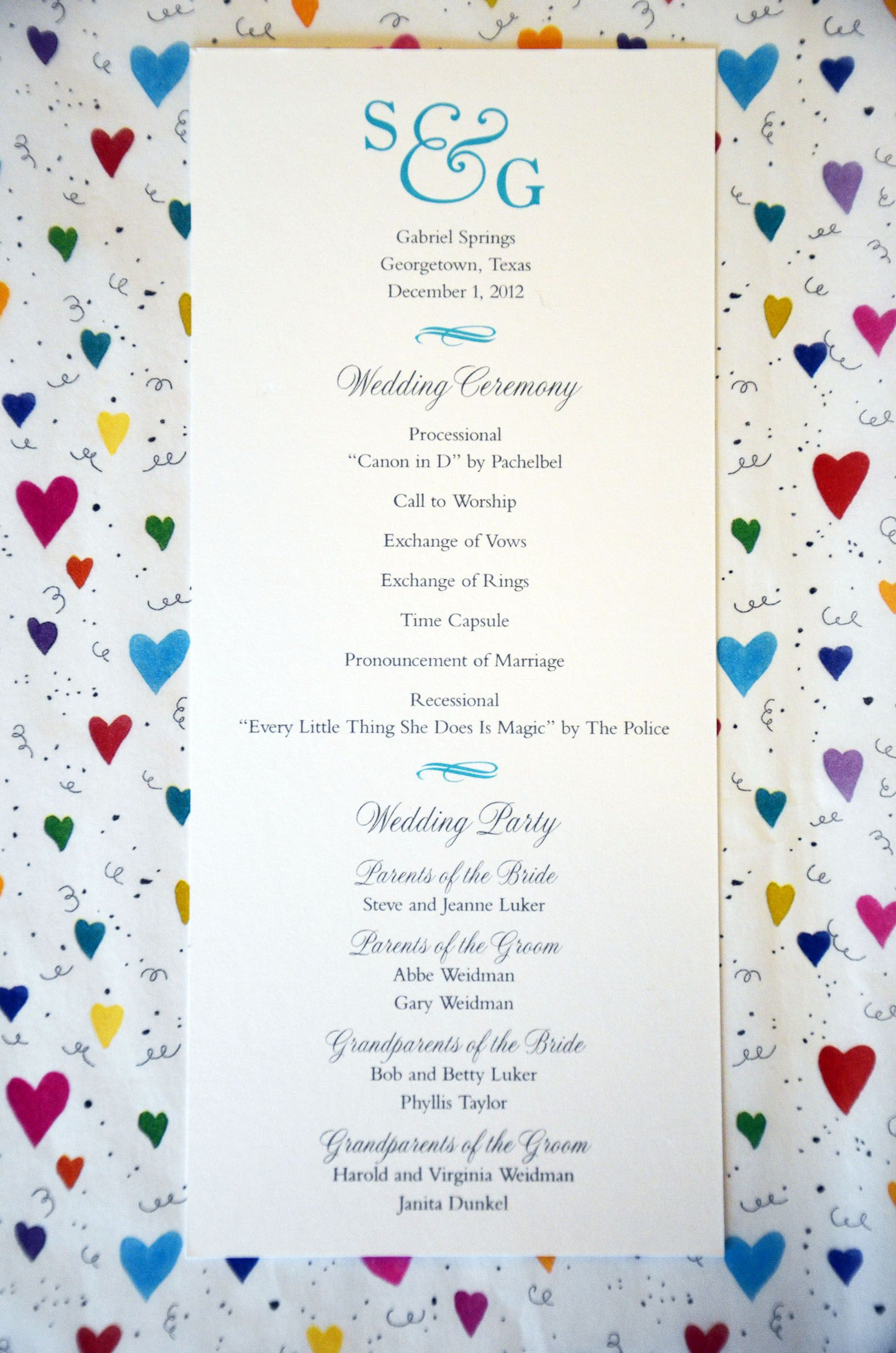 this one page wedding program is about as inexpensive as you can get