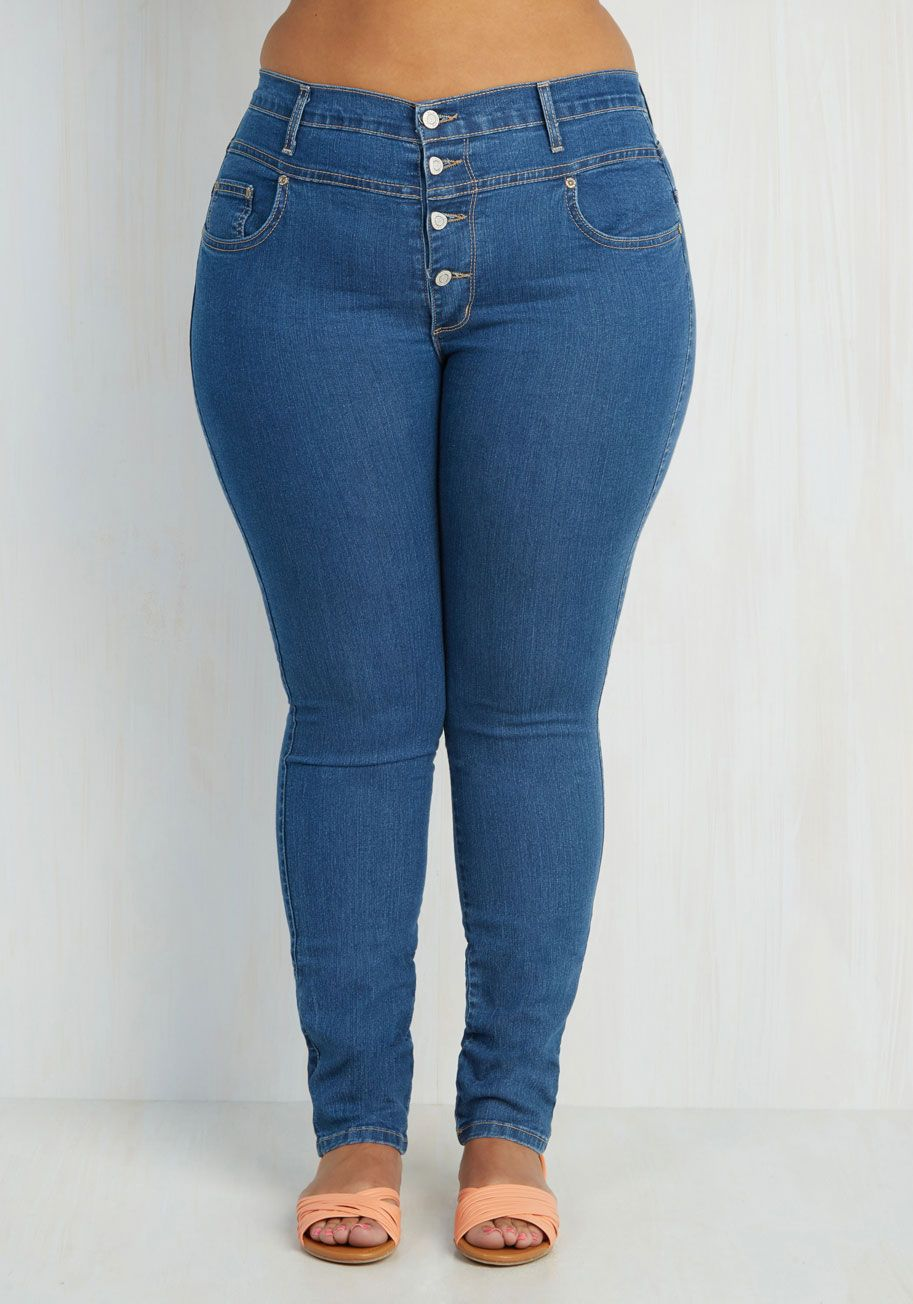 5f3706a0200 Karaoke Songstress Jeans in Classic - 1X-3X. Step into the karaoke  spotlight in these classic denim skinnies!  blue  modcloth