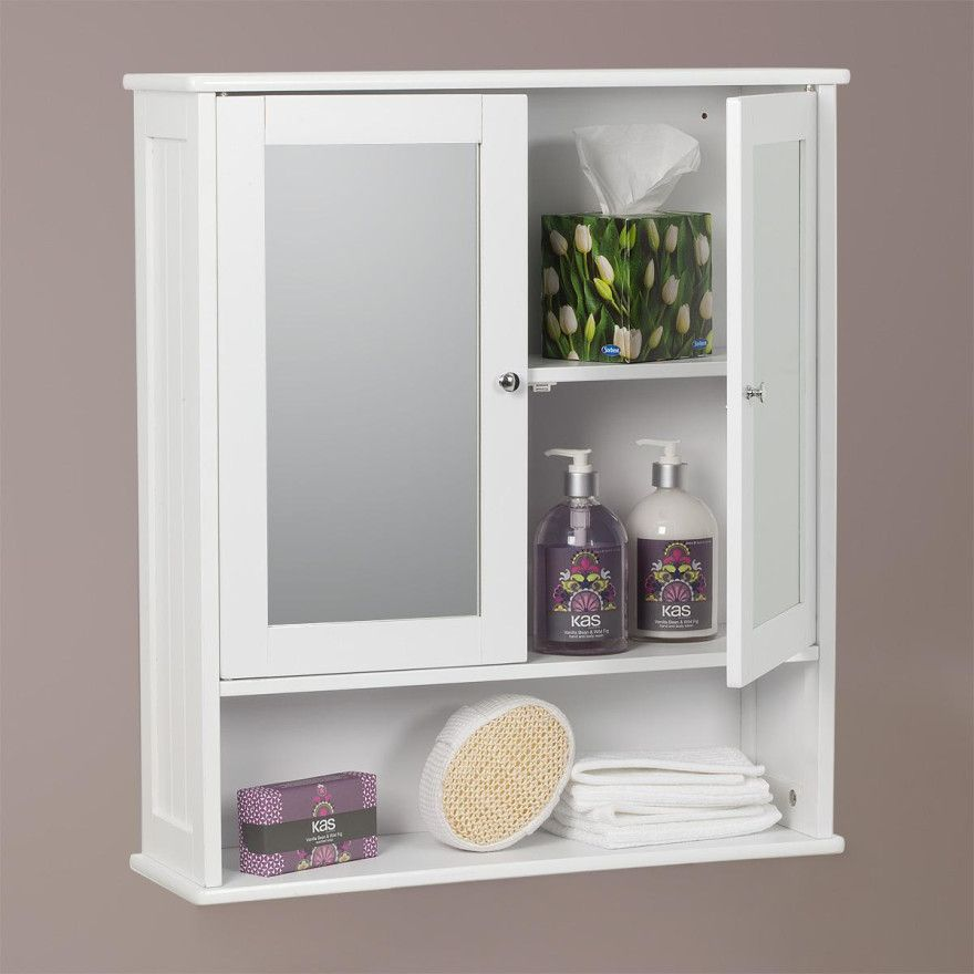 carre bathroom mirror 2 door wall cabinet white painted finish inner 2 shelves