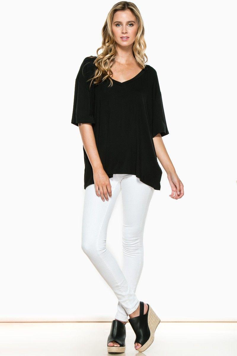 Cozy Short Sleeve Double V Neck Tee in Black by Piko / Shop Sosie #tshirt #piko #vneck #loose