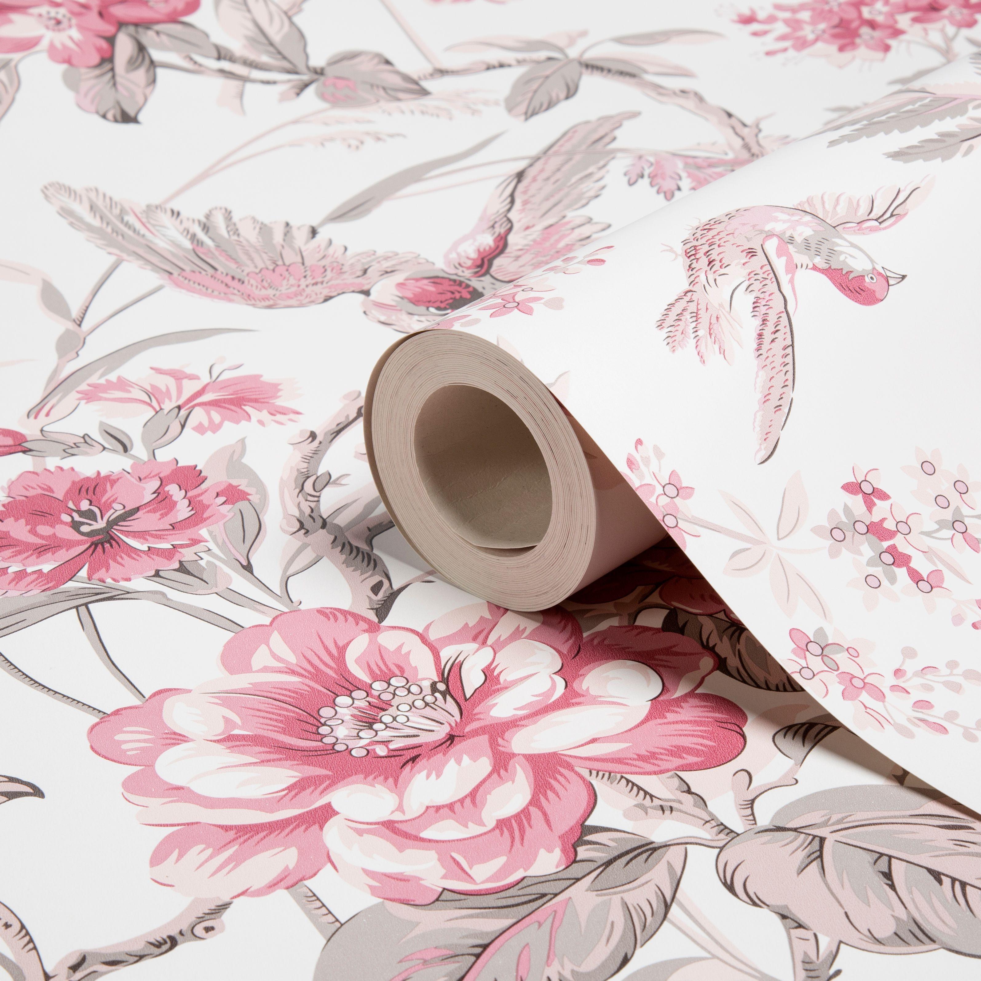 Elizabeth Floral Birds Dusky Pink Wallpaper Departments DIY At