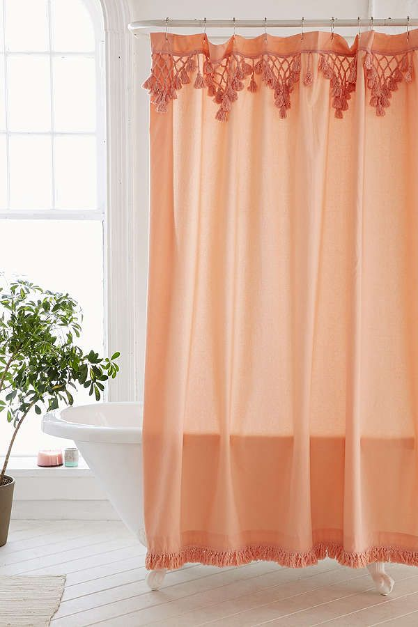 Topanga Fringe Shower Curtain With Images Boho Shower Curtain