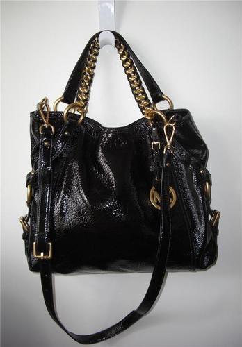 NEW Michael Kors Tristan Large Black Shoulder Tote Pebbled Patent Leather  BAG  6fdf71a06bee9