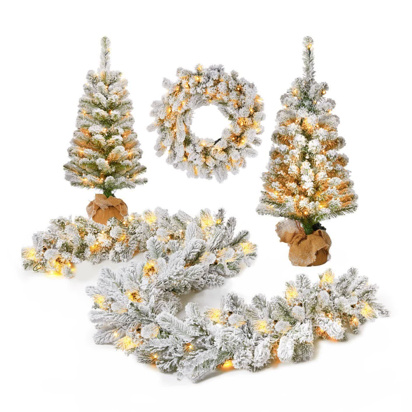 Get 10% off this already ON-SALE 4-piece flocked pre-lit set of garland, wreath and topiaries from King of Christmas. Use code THEFOODIESFITHOME at checkout for your discount! #flockedtree #flockedchristmastree #flockedwreath #flockedgarland #prelitwreath #prelitchristmastree #prelittree #christmastreesale #holidaysales #discounts #christmascoupon #christmastopiaries #tabletoptree #christmasgoals #affordablechristmastrees #holidayhomeinspo #holidaydeorinspo #holidaydecorgoals