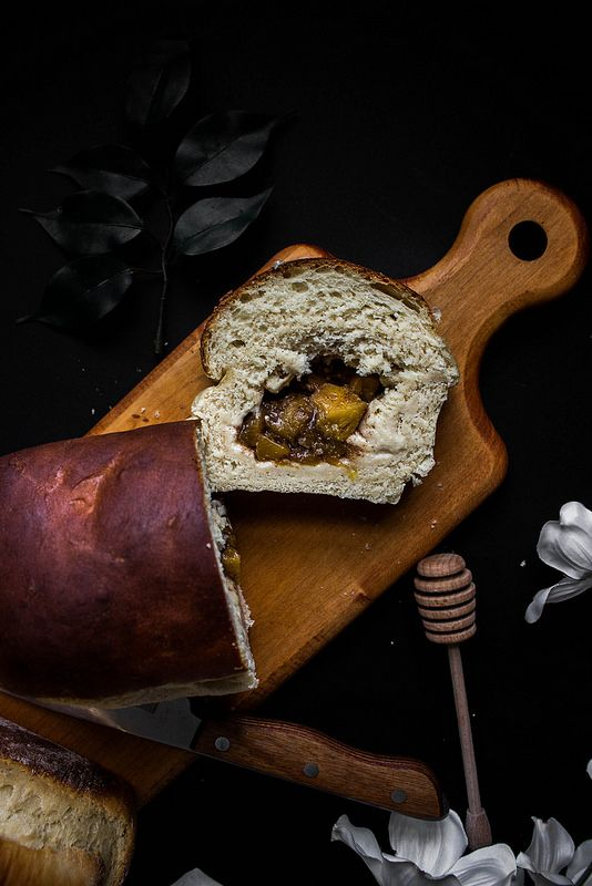 Roasted Sweet Balsamic Peach Stuffed Honey Buttermilk Bread