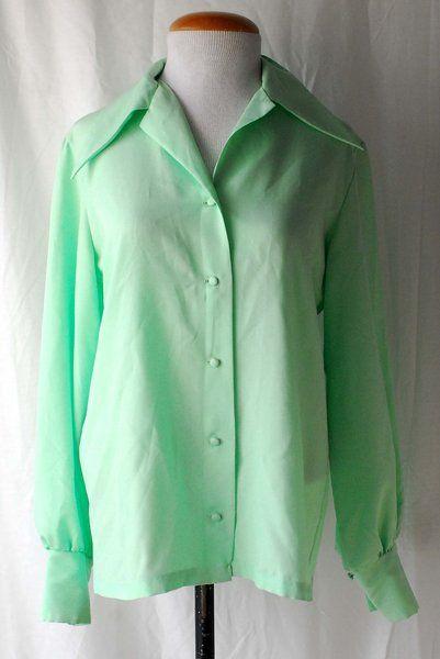 Women's 1970s Le Soft Shirt by Lady Manhattan Green Polyester Shirt