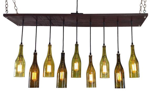 Modern Chandelier With Recycled Wine Bottles Rustic Style Handmade From Salvaged Barn Wood Stained A Rich Walnut Brown Color