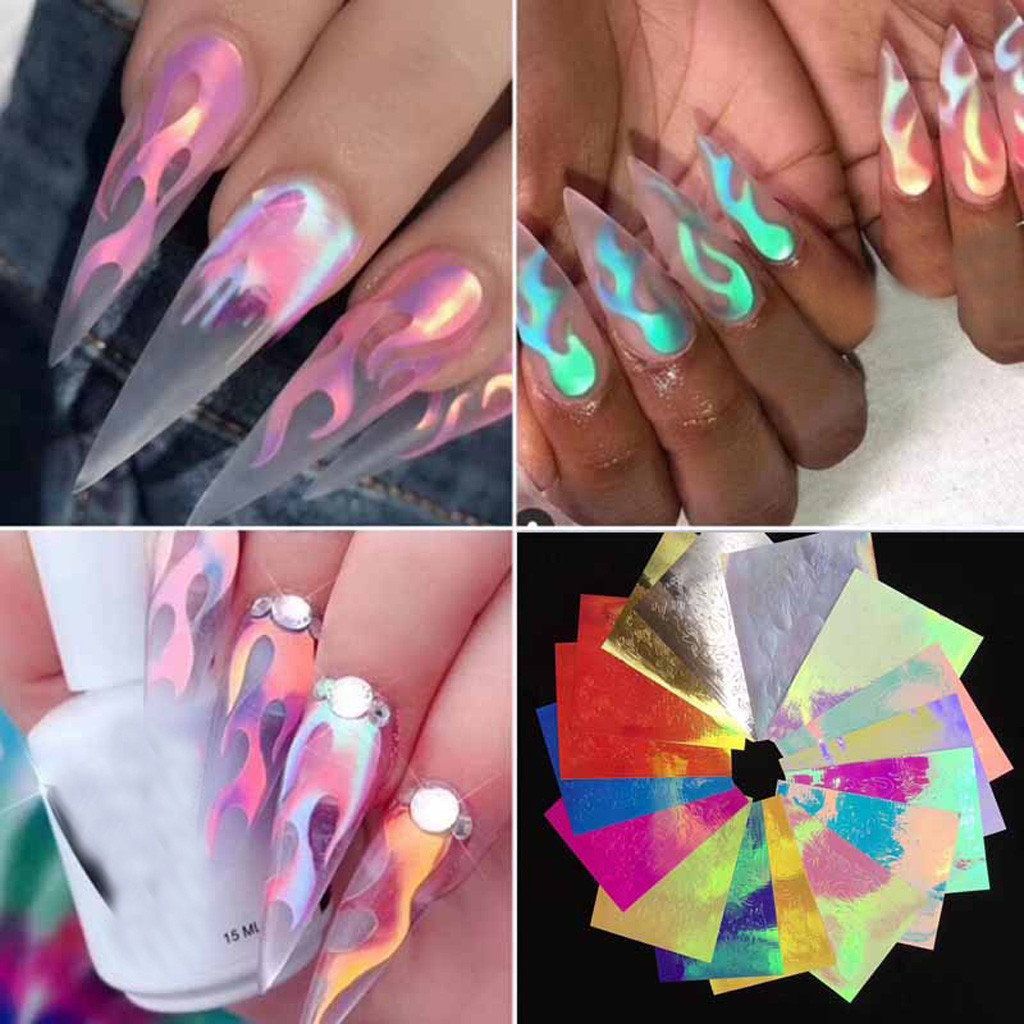 16pcs Nail Art Stickers Holographic Nail Foil Flame Nail Art Transfer Sticker Water Slide Nail Art Decals Flame Nail Art Tape Nail Art Vinyl Nail Stencils
