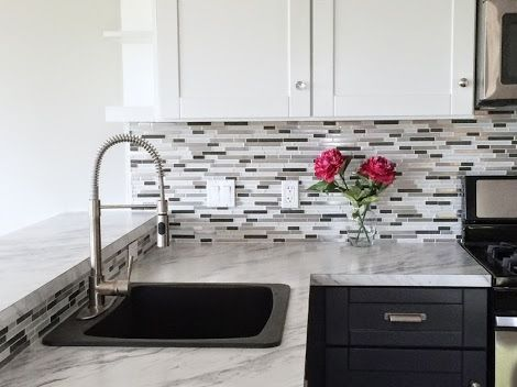 Faucet handles grey  white shaker this is the exact look    doing in my kitchen also